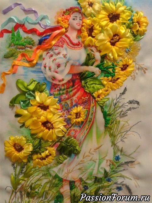 """Из серии """"Украиночки"""", украиночка, картина вышитая лентами, вышивка лентами"""