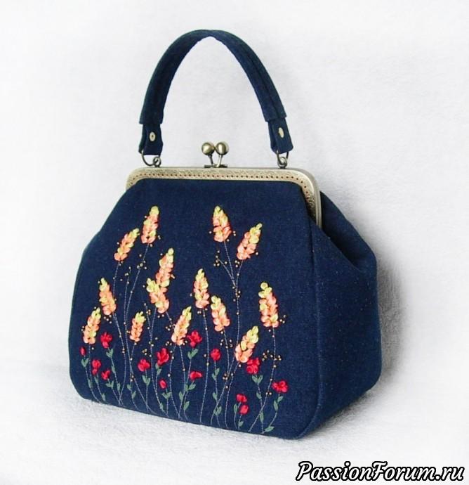 """Сумки с вышивкой лентами """"Золотой колосок"""" и """"Колыбель вереска"""", сумка, вышивка, вышивка лентами, атласная лента, вышивка бисером, сумка с вышивкой"""