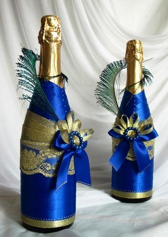Украшение бутылок шампанского лентами своими руками мастер класс фото 194