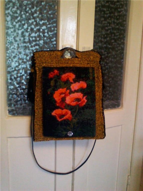 вышитая  вязанная сумка