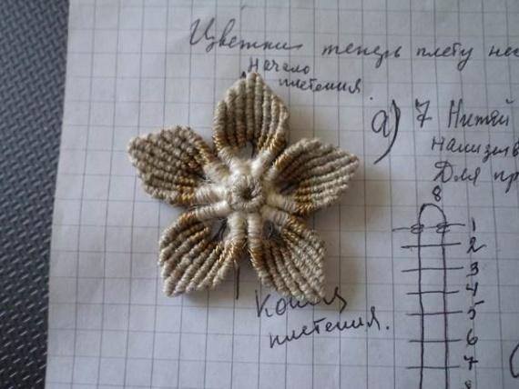 техника плетения цветочка от Петерс Розы