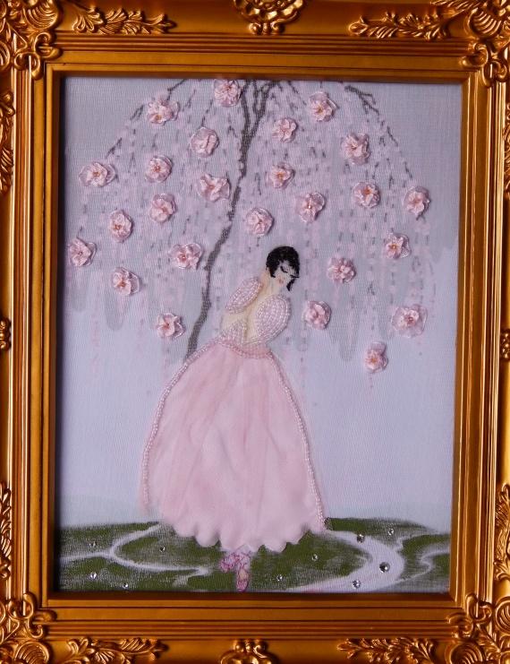 Картины, украшенные лентами,бисером,кристаллами...