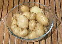 Картофель в мундире, жареный перец, и жареные кабачки с румынским соусом Муждей.