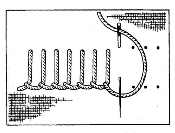 Хардангер игольница. Совместный отшив. Этап 2.
