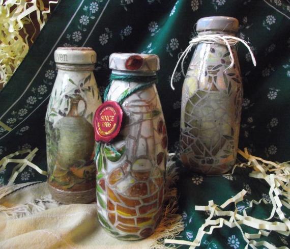 Эксперименты с декупажем бутылочек: имитация витража и мозаики
