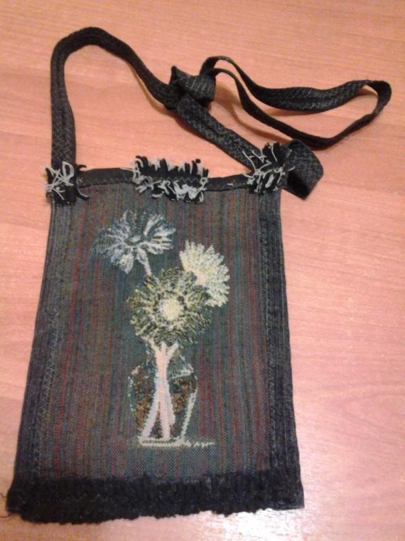 Двухсторонняя сумочка с использованием гобелена