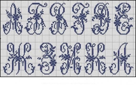 Алфавит . Схемы вышивки