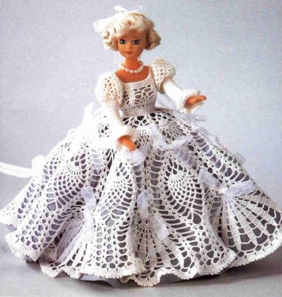 вязаное платье для куклы и