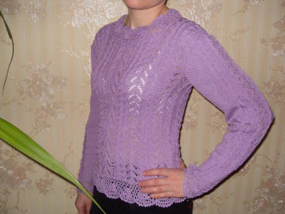 ажурный пуловер из хлопка