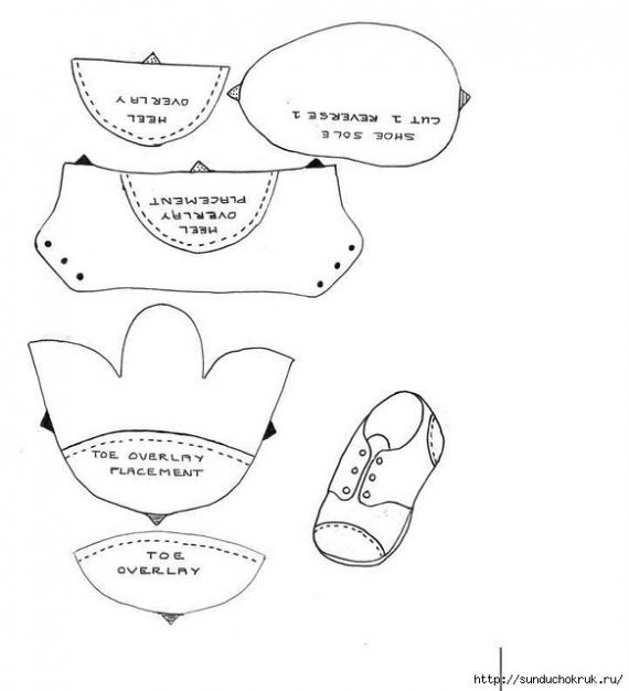 Выкройка ботиночек для большеножки