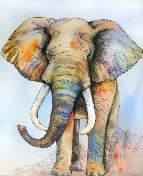 Рисунки акварелью слон