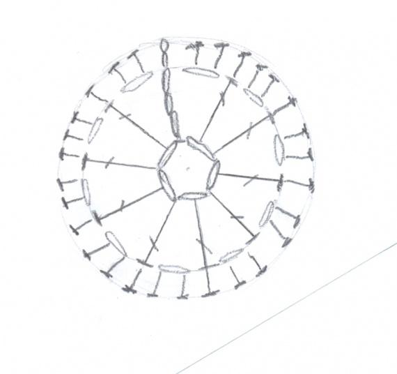 Вязание салфетки в стиле брюгге, 1 этап