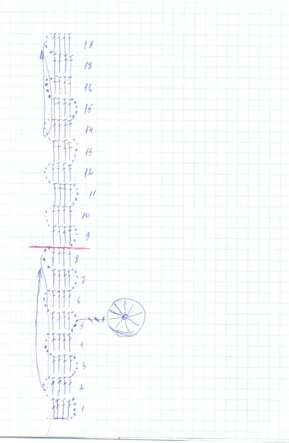 Совместное вязание салфетки в стиле брюгге, 2 этап