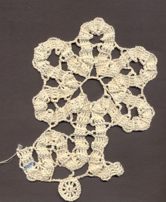 Совместное вязание салфетки в стиле брюгге, 4 этап