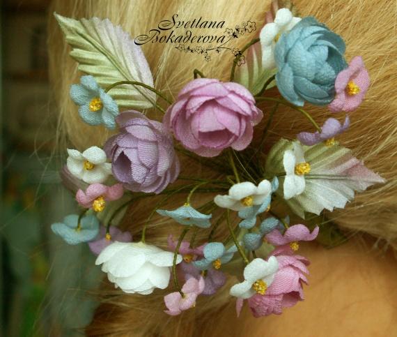 Цветы из ткани нажелатининой