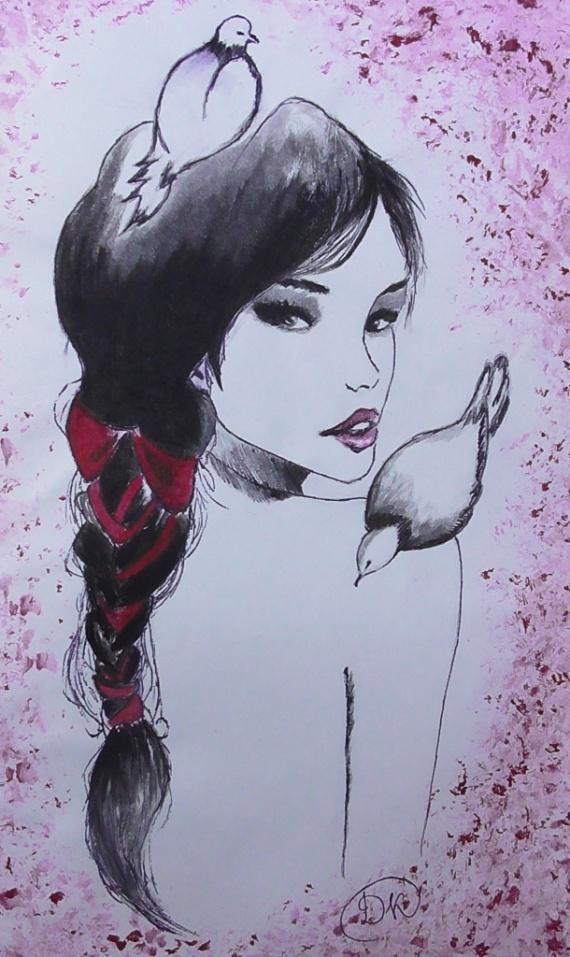 Девушка и голуби. Рисование