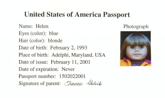 Паспорт куклы или сертификат. Из Интернет-копилки.