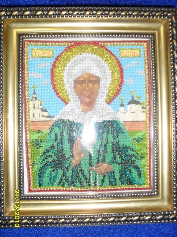 Икона святой Матроны Московской из ювелирного бисера