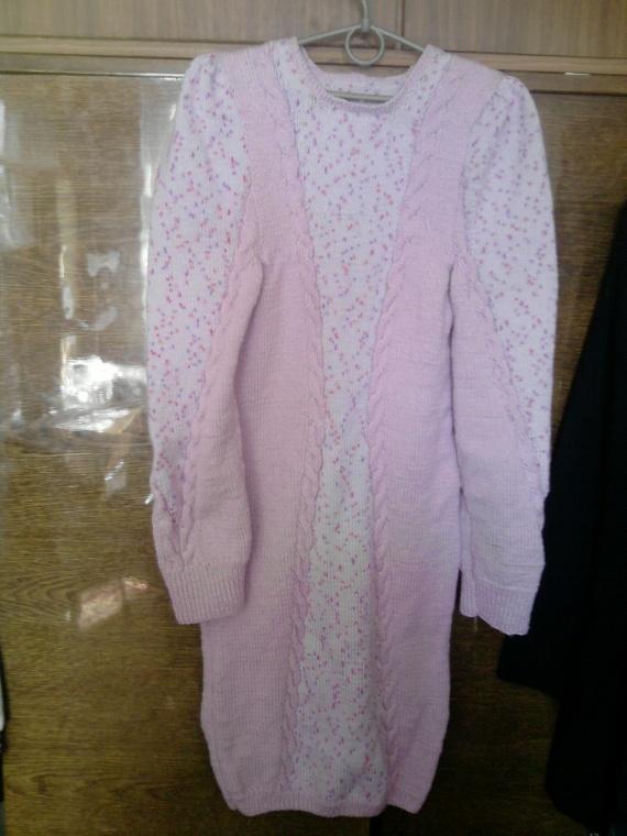 Сиреневое платье с вставкой- искоркой