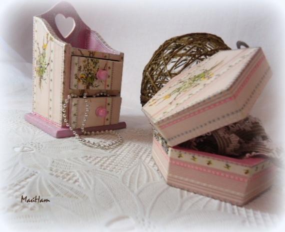 """Набор мини комодик для бижутерии и шкатулочка """"Розовые мечты"""""""