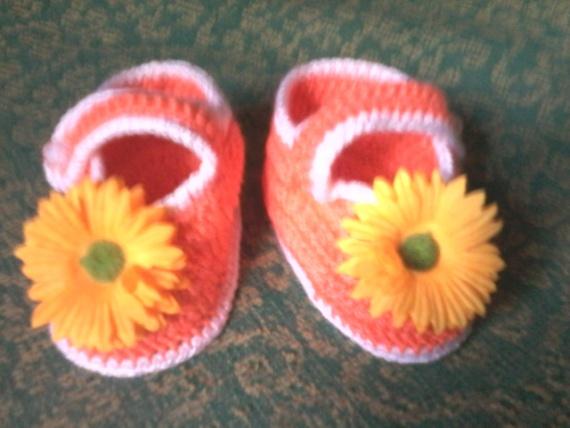 вязаные  туфельки