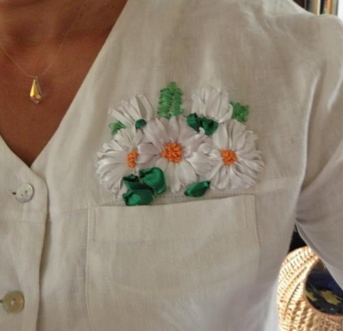 Вышивка на блузке своими руками ромашка