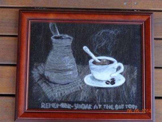Картина из шерсти.  Черный кофе.