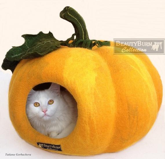 Войлок, домик для кошки Тыква