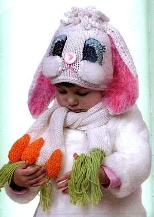 Шапка-зайка для ребенка