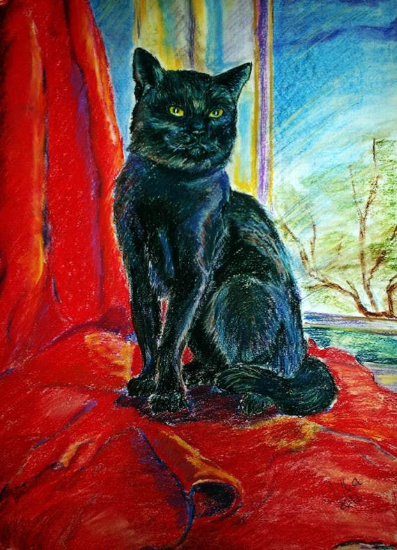 Черный кот пастель