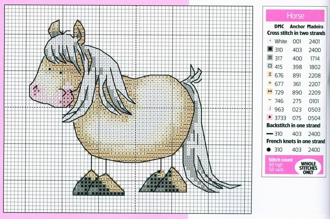 крестом лошадка детская схема