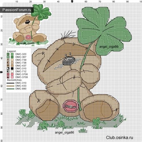 Схема для вышивания крестом мишка