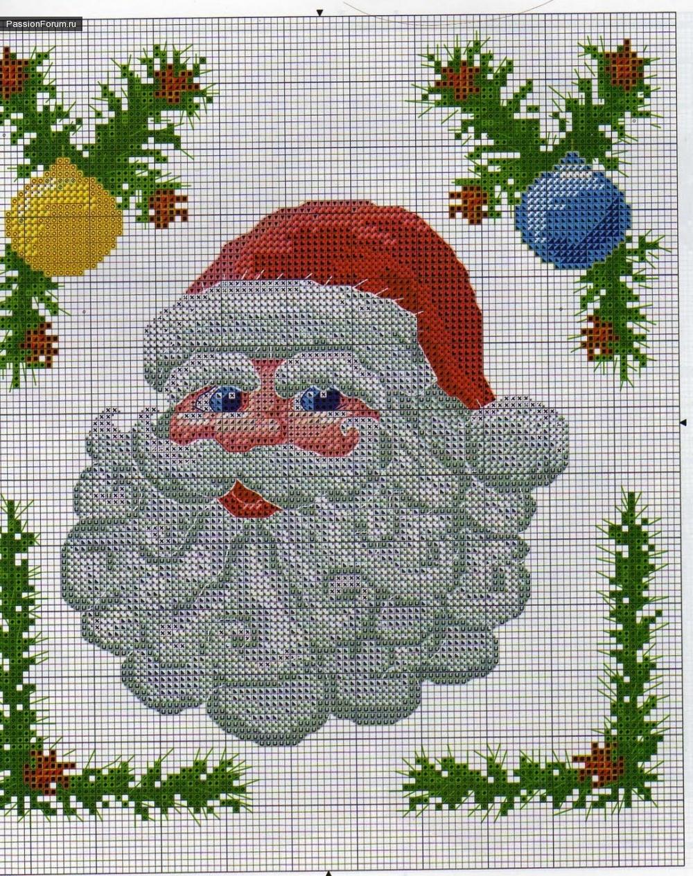 Вышивка крестом картин с изображением Деда Мороза 22