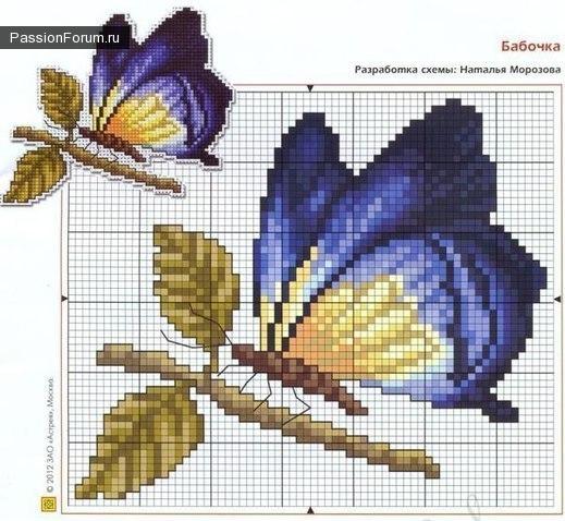 Схема вышивка бабочек крестом