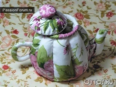 Объемный текстильный чайник