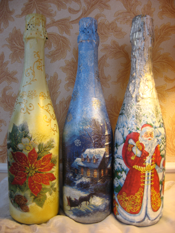 Как оформить бутылки к новому году своими руками