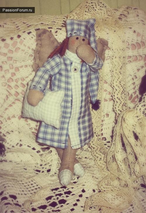 Моя первая тильдочка:)) сонный ангел))))сплюшка)))