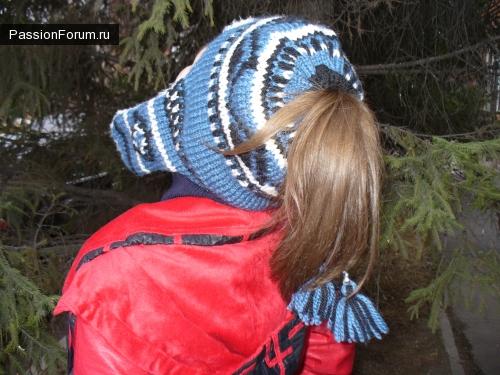 Вязаная шапочка на подкладке