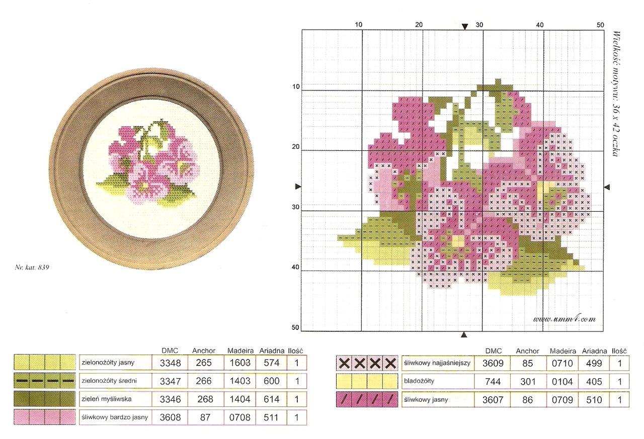 Вышивка крестом цветы миниатюры схемы