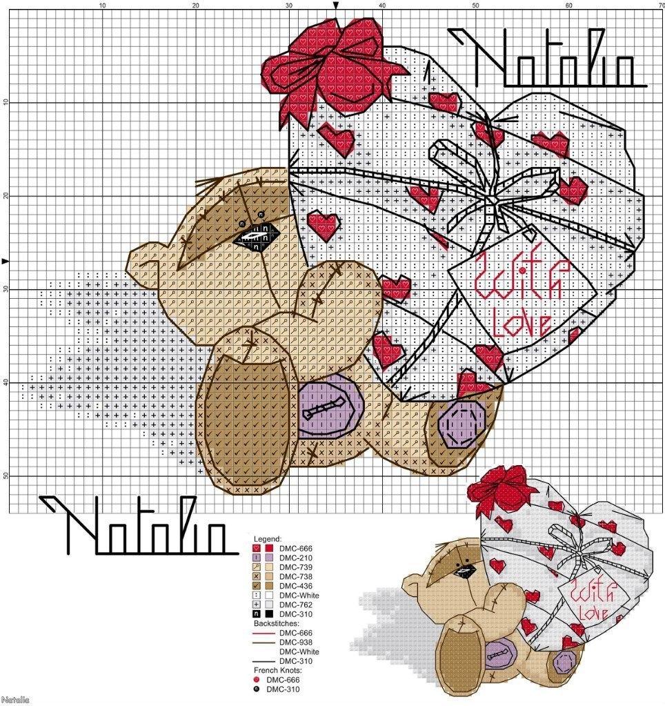 Вышивка крестиком схемы медведь
