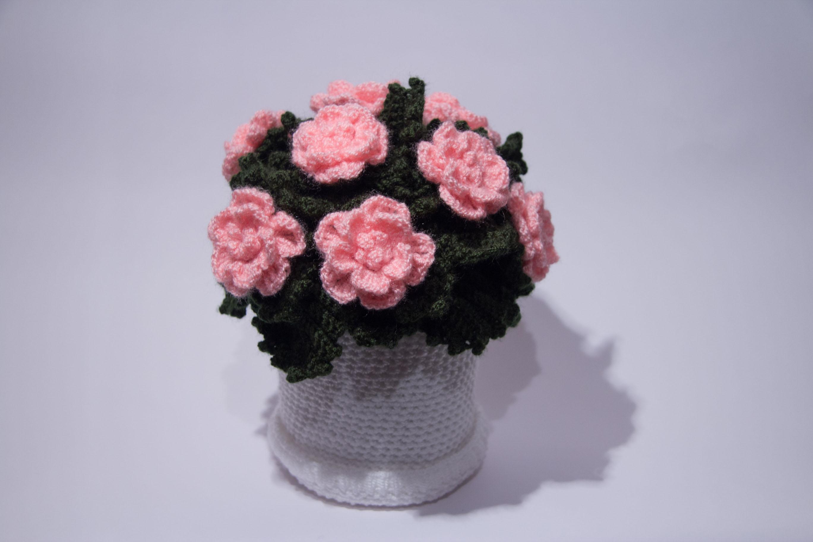 вязаные цветы в горшочках крючкомцветы уют в нашем доме запись