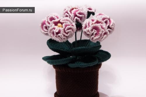 Вязаные цветы в горшочке крючком. Экзотические цветы.Фантазия. Вязание цветов.
