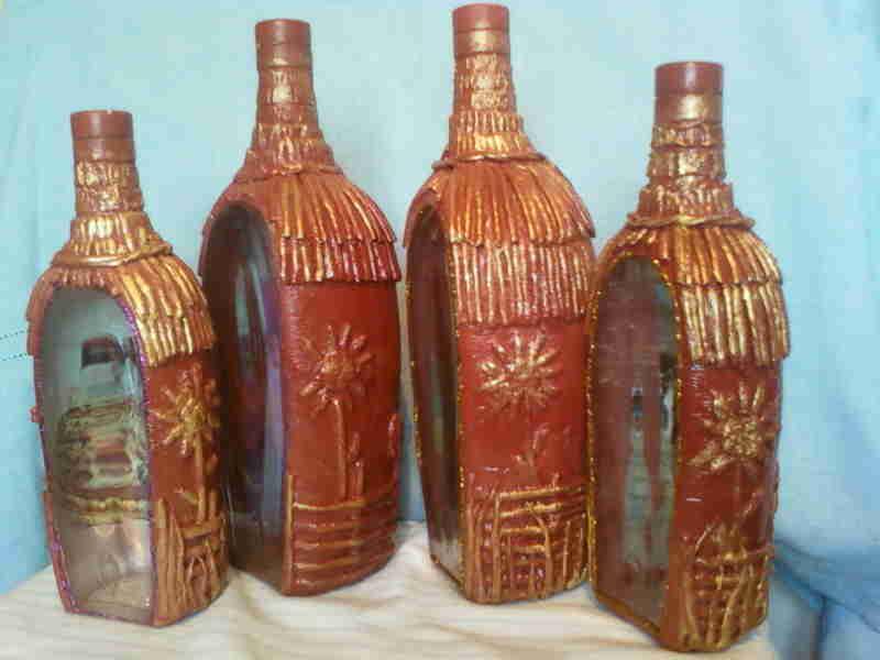 Декупаж бутылок по украинский