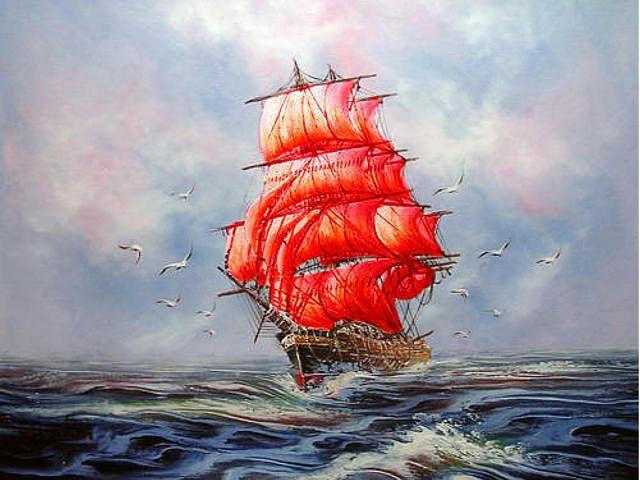 Картинки по запросу картинки корабля с алыми парусами