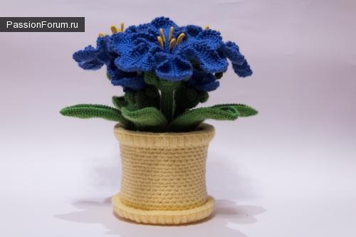 Вязаные цветы в горшочке крючком. Лазурная Лилия.