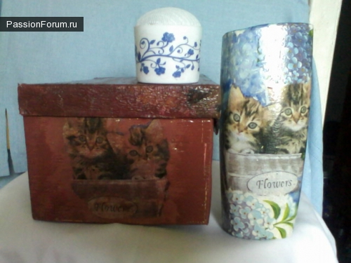Рукодельная коробка и вазочка в подарок