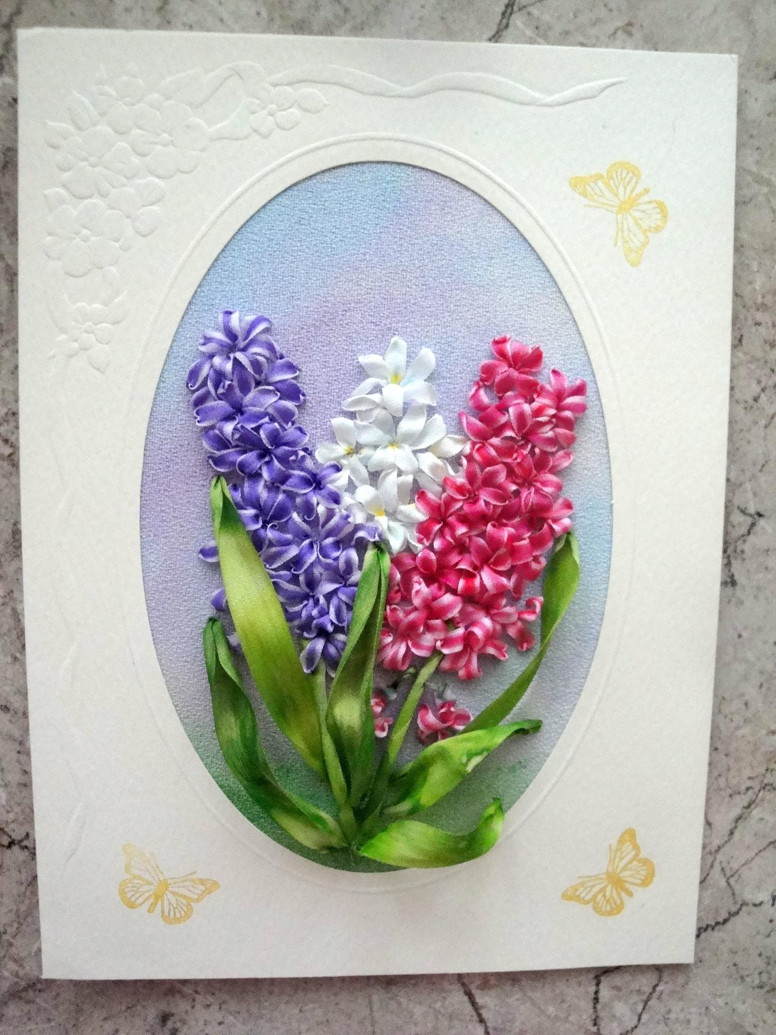 Вышивка лентами для открыток