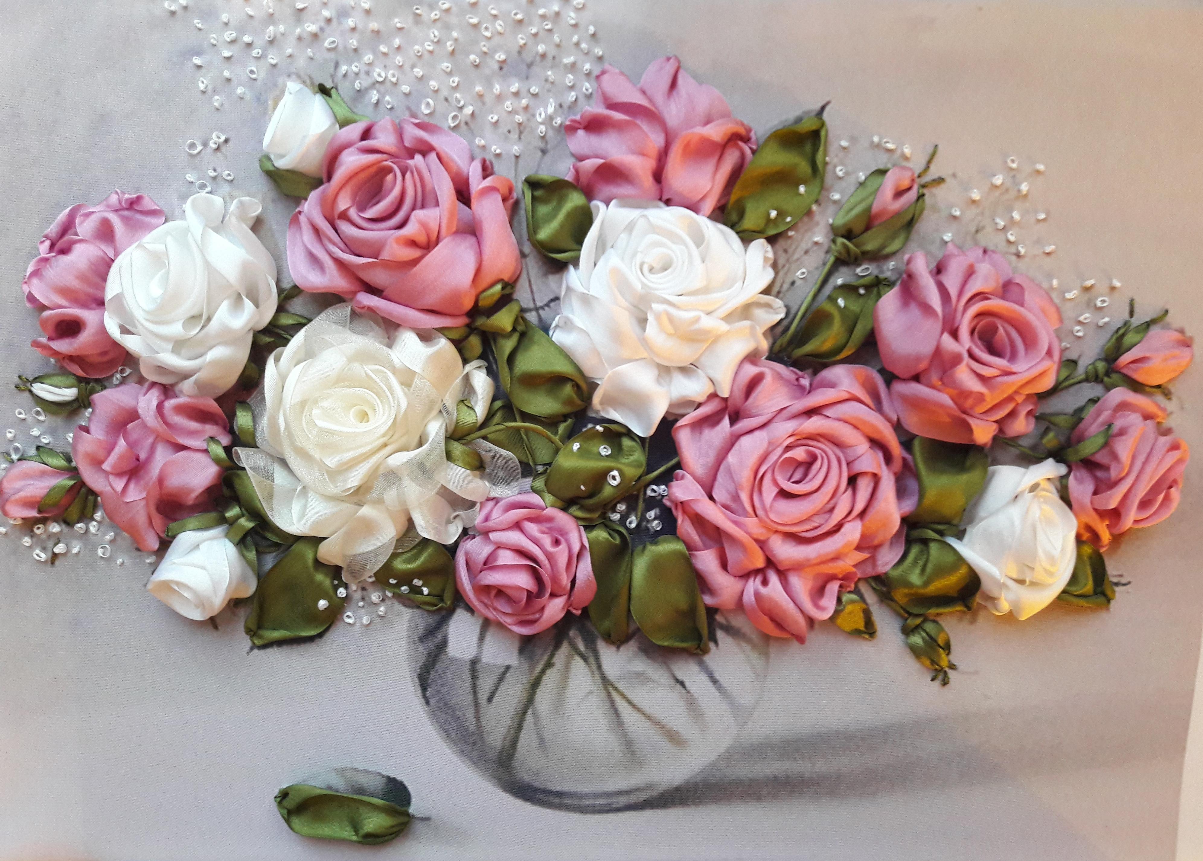 Вышивка лентами шикарные розы 384