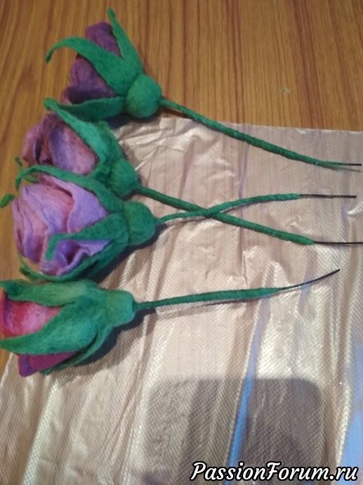 Вот такие получились розочки. Остальные розы делал без чашелистника.