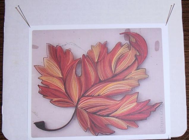 Выбранный рисунок булавками закрепить на картоне.